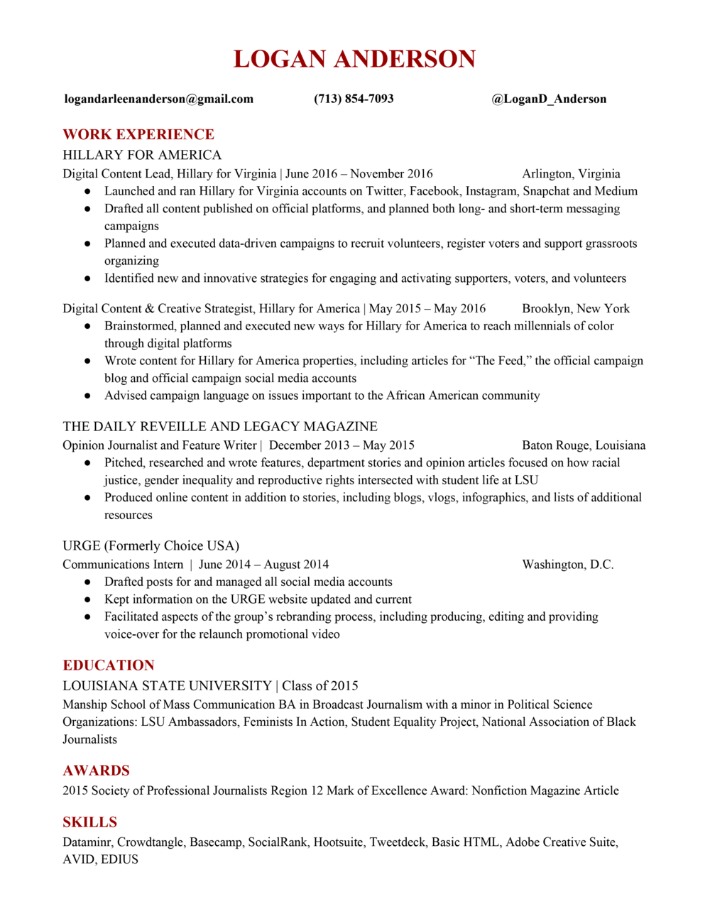 Logan Andersonu0027s Resume  Digital Strategist Resume