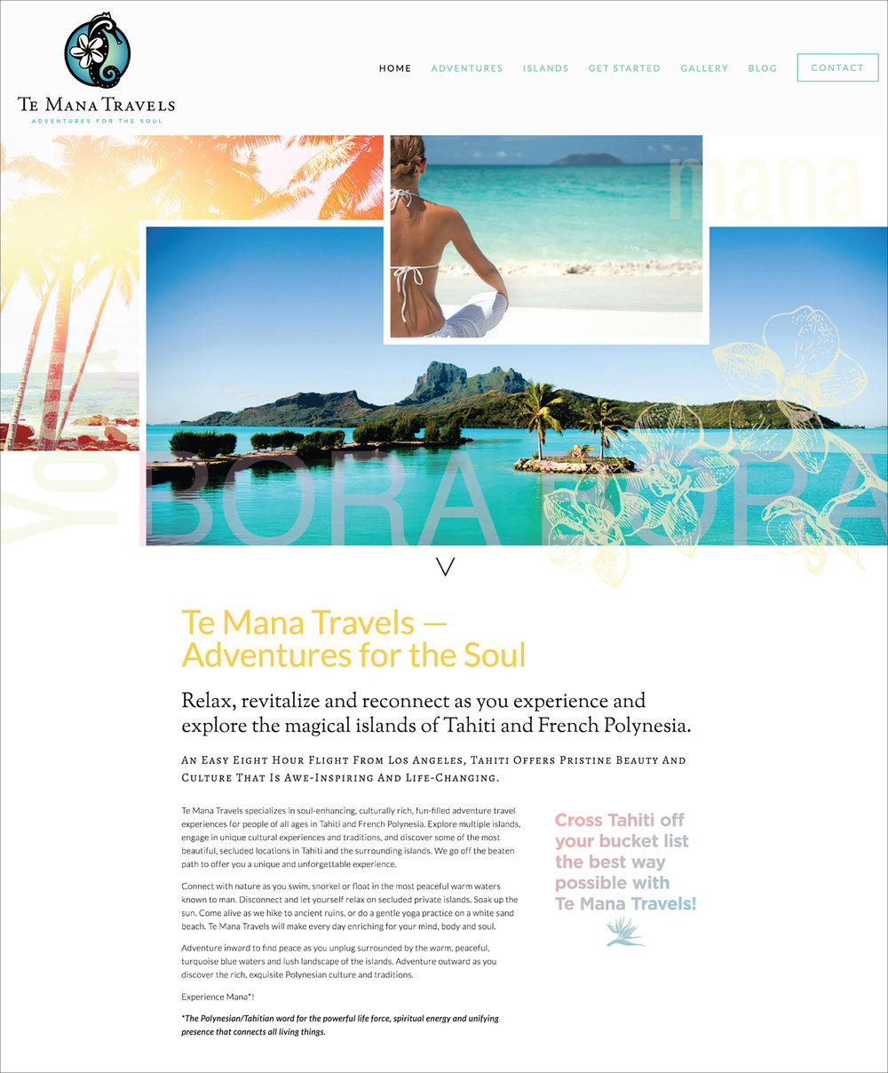 Te Mana Travels Website | Sailboat and yoga adventures to French Polynesia, Tahiti | DesignCode | Austin, Texas
