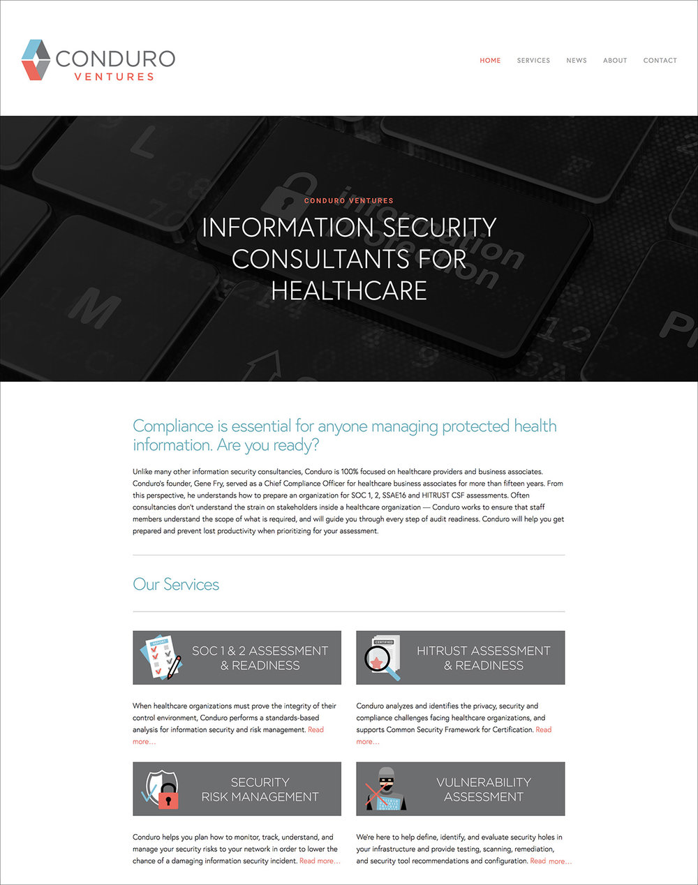 Conduro Ventures Website | Information Security Consultants for Healthcare, Soc1 and 2, HiTrust, Risk Management, HIPPA Compliance, Austin, Texas | DesignCode | Austin, Texas