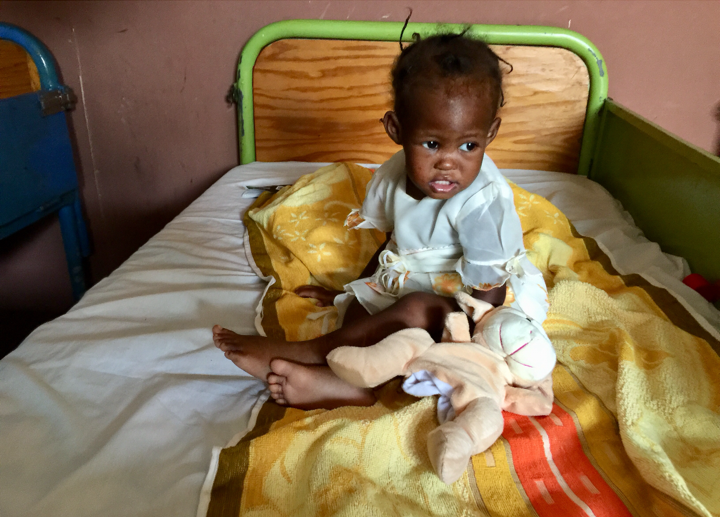 A child at our Nutrition Stabilization Unit at the Hospital Notre Dame in Petit-Goave