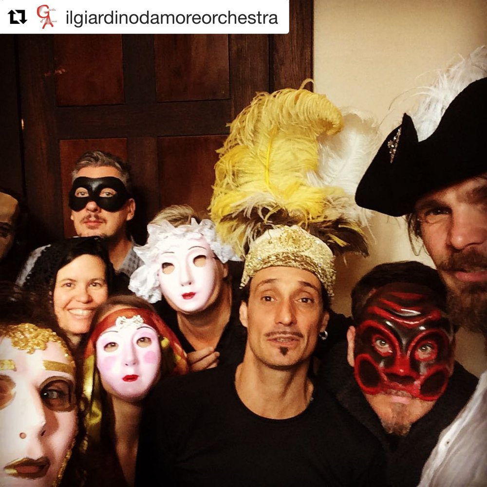 The ensemble takes a break to make use of all the wonderful masks