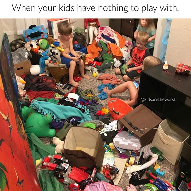 "How about we play ""Clean Up Your Toys or I Will Put Them All in a Bag to Donate""? It's the best game ever.  #CleanUpCleanUp 📷: @lauragrinsell #kidsaretheworst"