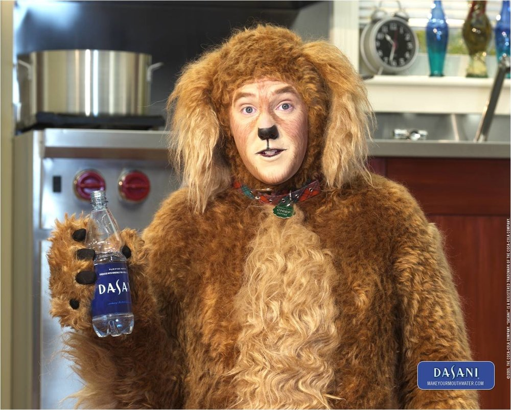CHIEF the spokes dog for Dasani. Fabricated by Costume Specialist for Coca-Cola
