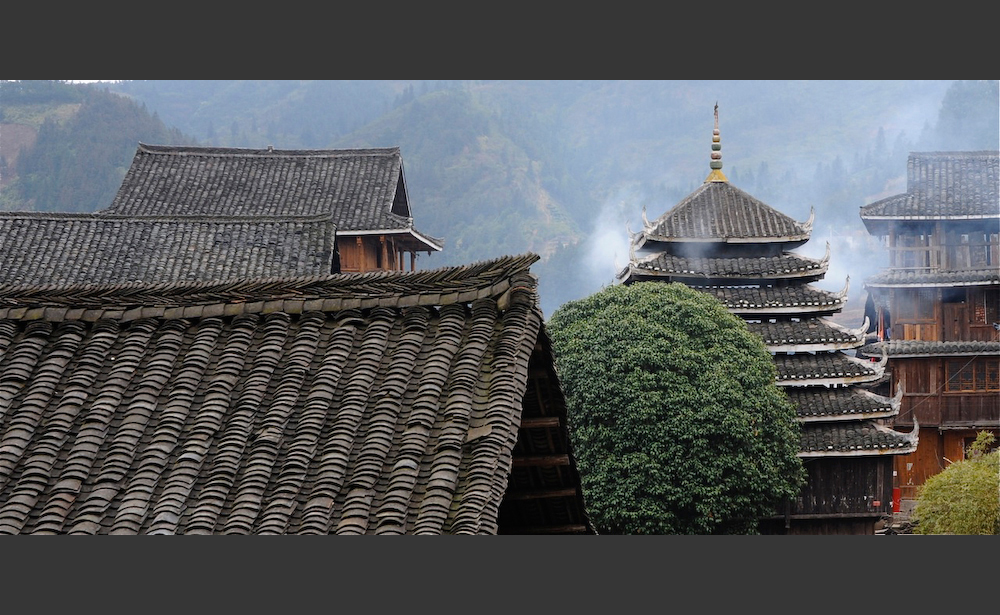 Rooftops in Sanjiang Village, Guangxi, China