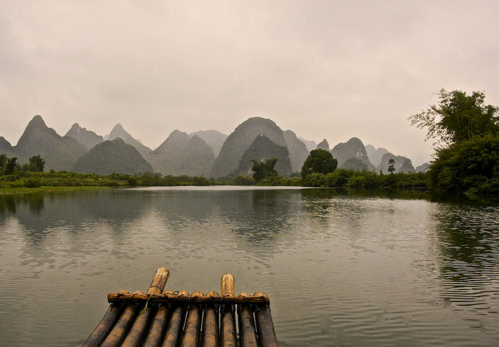 Bamboo raft ride on the Yulong River, Yangshuo, Guangxi, China