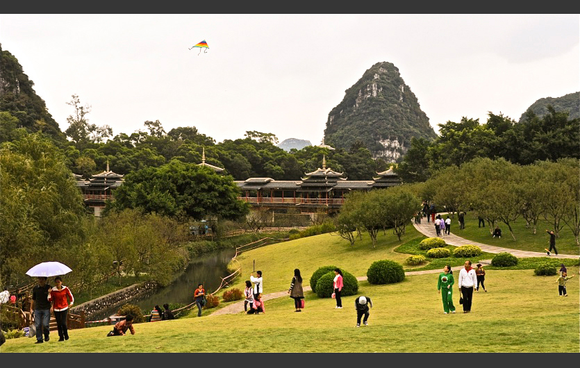 Kite Flying in Longtan Park, Liuzhou, Guangxi, China