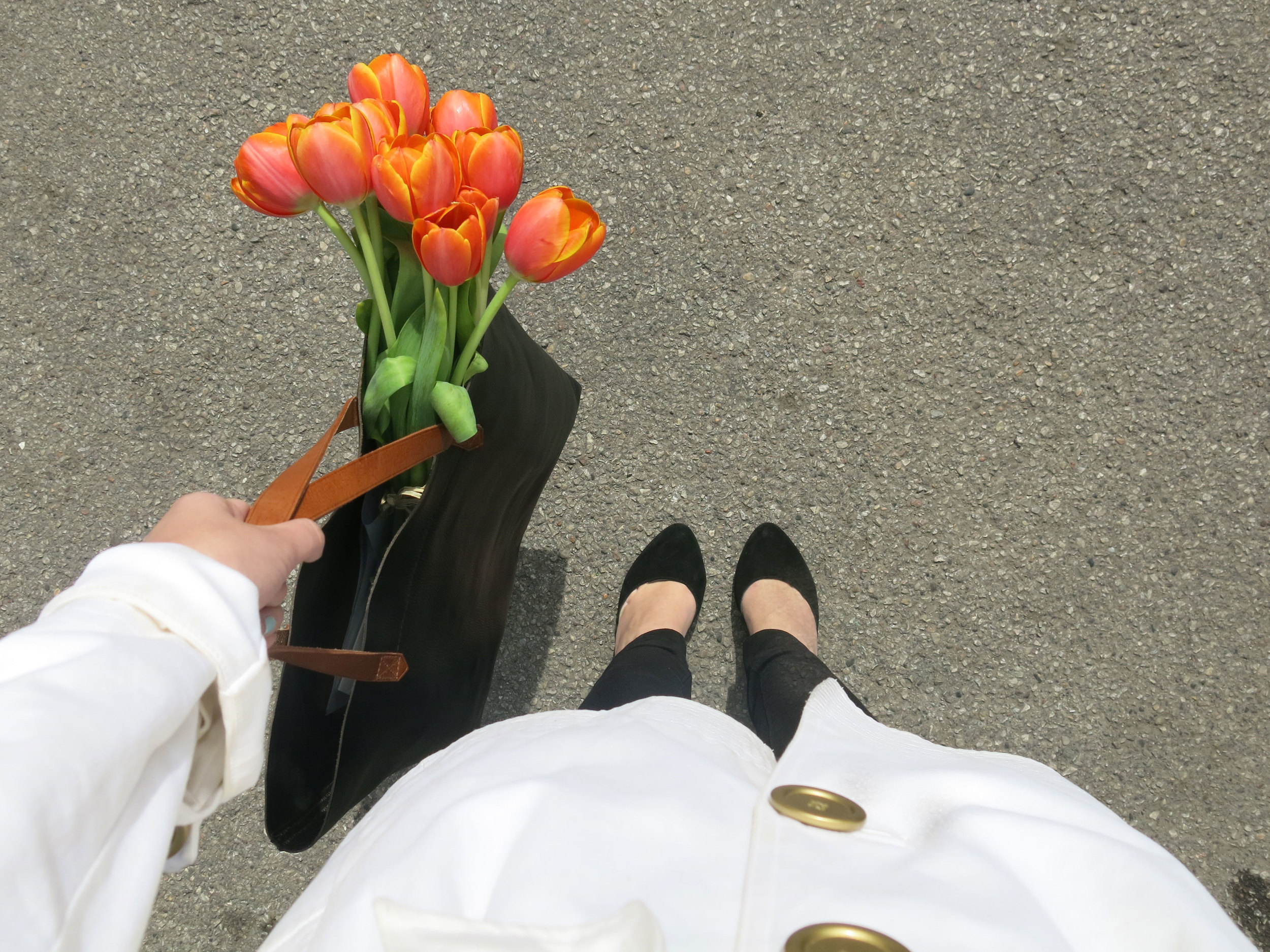 Madewell Tote, Fresh tulips, and black heels