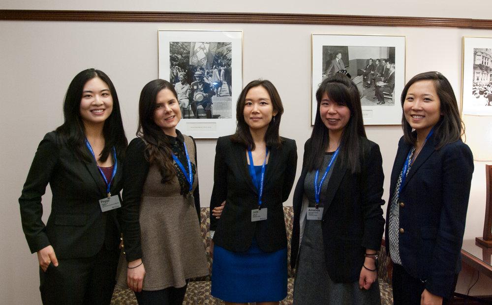 phd student presenters (from left to right): peggy liu,  fuqua , dana kanze,  CBS, julia hur,  kellogg , amanda chuan,  wharton , martha jeong,  hbs
