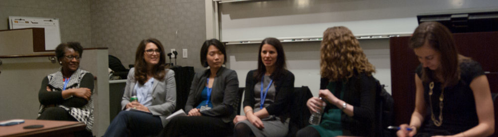 faculty panel (from left to right): kathy phillips,  columbia business school (management),  mae mcdonnell,  the wharton school (management) , maisy wong,  the wharton school (real estate) , deborah small,  the wharton school (marketing) , katy milkman,  the wharton school (oid decisions) . also pictured: phd student, panel mediator, and founder of wsawba, alix barasch,  the wharton school (marketing)