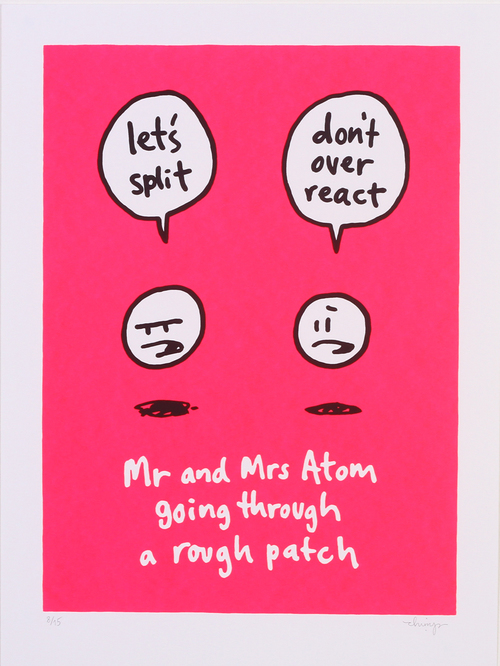 'Mr And Mrs Atom Going Through A Bad Patch' By Dave The Chimp