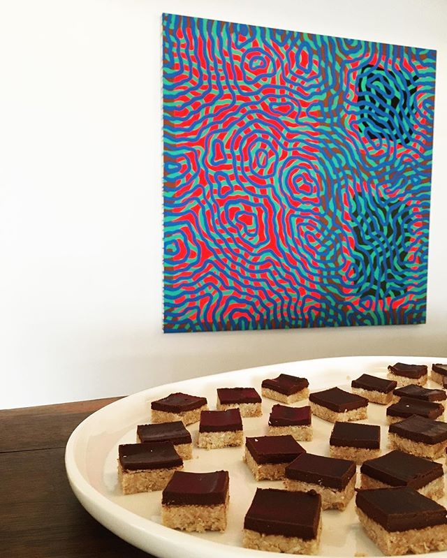 Sharing Dessert Medicine coconut & chocolate fudge treats at @chandrangallery pop up with @jungmaven // painting by @samfriedman     #dessertmedicine #popup #fudge #coconut #chocolate #glutenfree #cacao #dessert #feelit