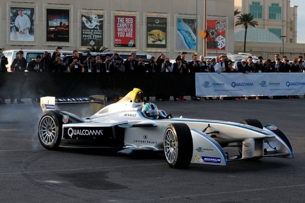 Unveiling of the FIA Formula Electric Qualcomm racer during the CES Technology Conference in Las Vegas, NV.