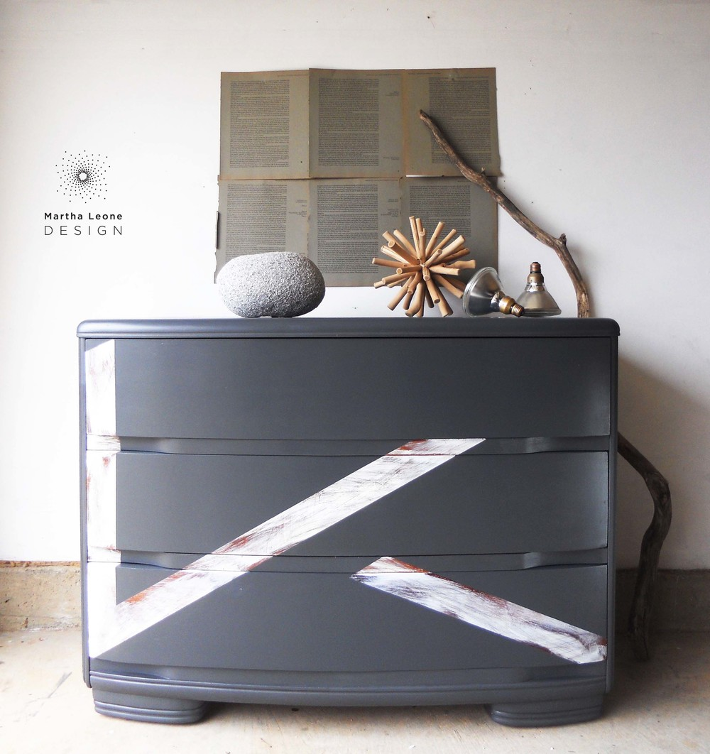 Furniture art by Martha Leone Design• Art Deco piece painted in General Finishes   Queenstown Gray.