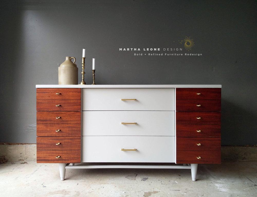 Mohagany drawers: 2 coats dark danish oil. 2 coats poly  Gray: Benj Moore Baltic Gray  Hardware: forge hardware studio