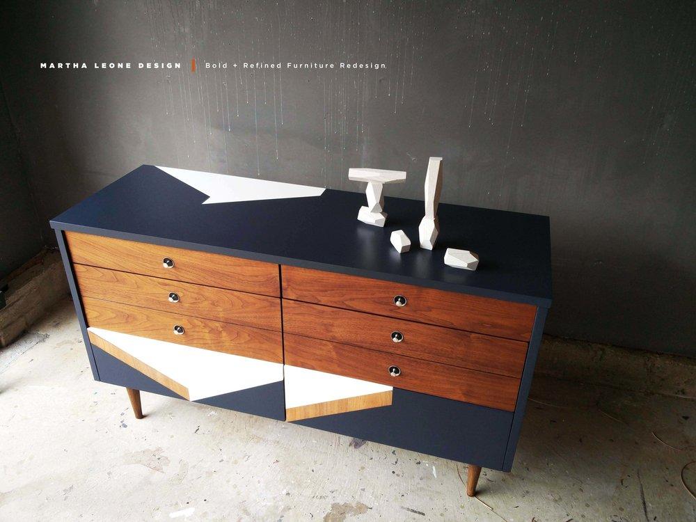 custom surface design on mid century dresser