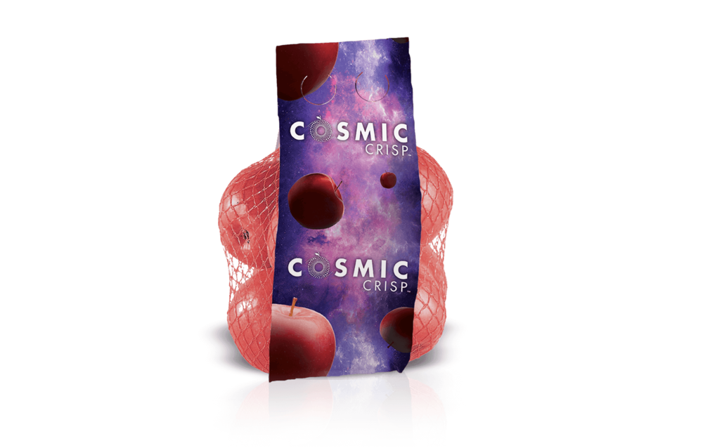 Mesh Ultrabag  • Cosmic Crisp® apples floating in space • Two grab holes at top of bag • Artwork for a repeating pattern