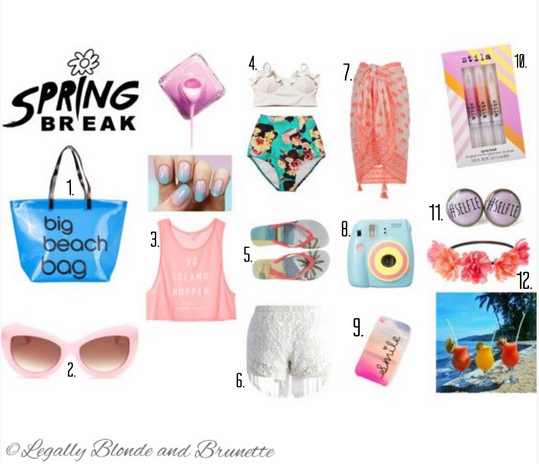 1. SPURR Big Beach Bag   2. WILDFOX Women's Kitten Plastic Sunglasses  3. Anytime Tees Low-armhole Crop Tank  4. White Midkini Top and Mint Flower High Waisted Waist Cut Shorts Bottom  5. DSQUARED2 Pool Multi Flip flops with print  6. Chicwish Fringed Lace Crochet Shorts in White  7. Monsoon Elephant Print Sarong  8. Polaroid Camera Kit with Film  9. Beach Smile Cover 10.Stila Lip Glaze Trio, Spring Break 11.Funny Grey #selfie Hashtag Stud Earrings  12.Peony Flower Crown