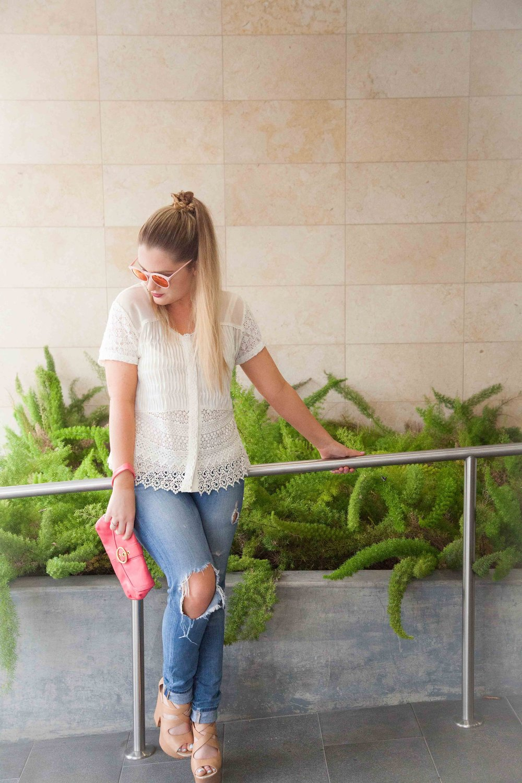 Buttoned Lace Midi Blouse, J Brand Jeans