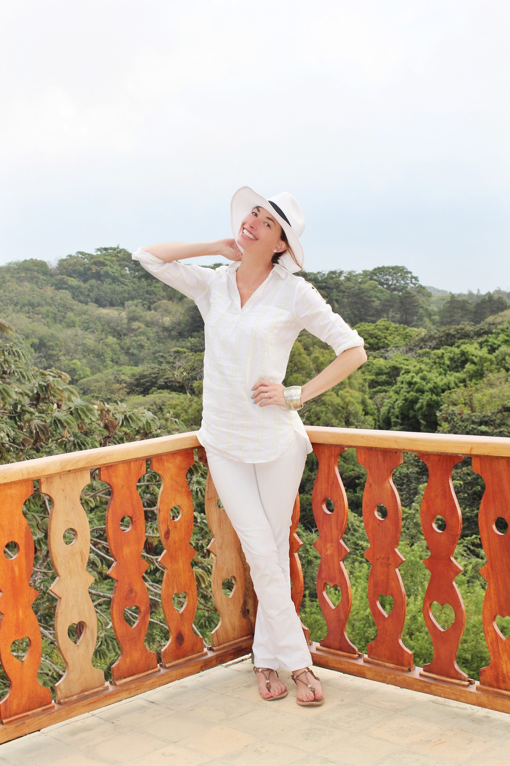 White pants by Lucky Brand, Linen stripped tunic, Hat
