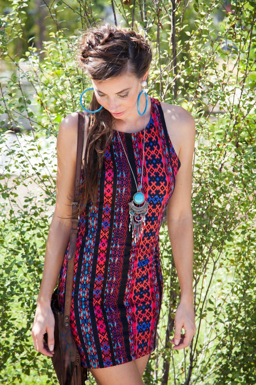 Tribal print bodycon dress