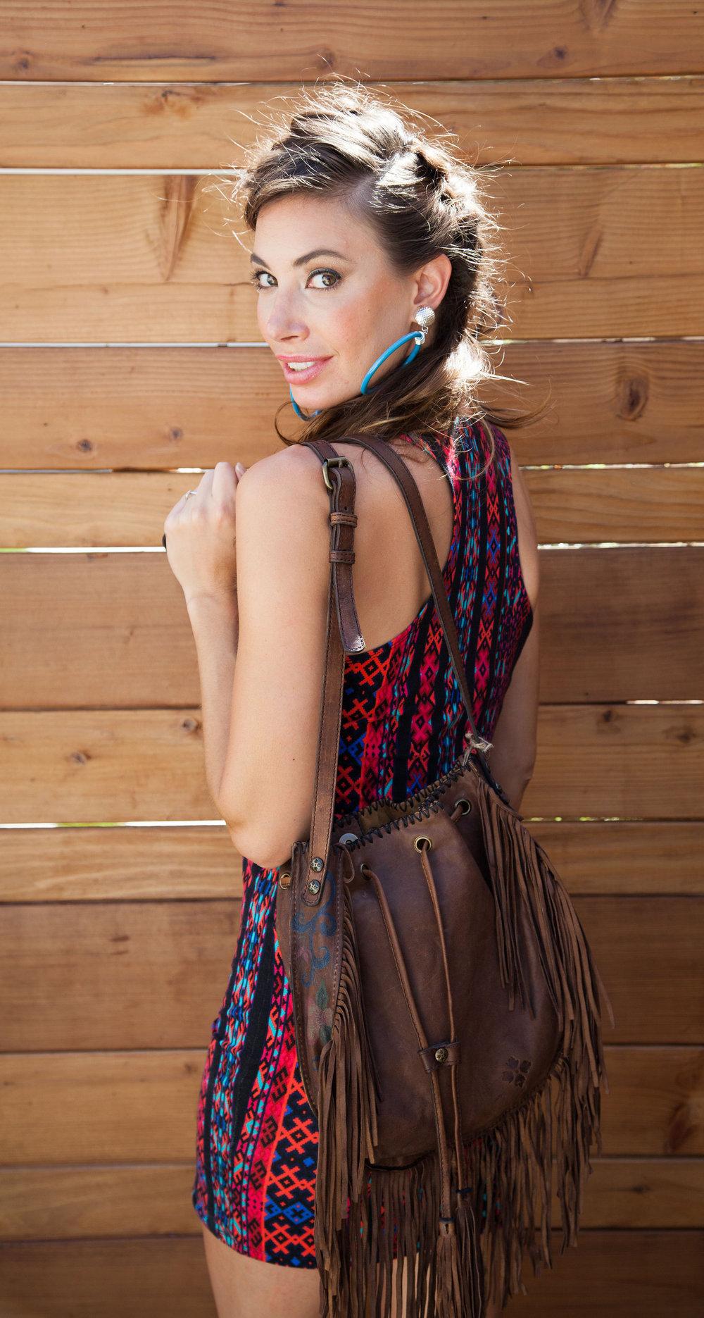 "Patricia Nash ""Carrera"" Oiled Leather Fringed Drawstring Crossbody Bag"