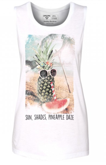 Pineapple Daze is all about embracing beach life and summer. Cute with cut offs, jeans, or yoga pants, it is so comfy and versatile. Designed by fashion blogger Shelley Buckner. from Legally Blonde and Brunette  $25.oo http://myluckysoul.com/product/pineapple-daze/