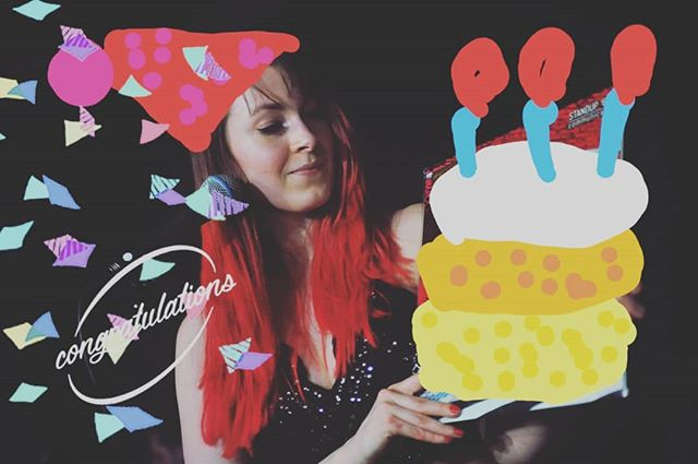 Happy Birthday to our awesome singer, guitar/synth player and over all femme fatale Emmy!  #happy #birthday #happybirthday #cake #confetti #balloons #presents #bandlife #gettingolder #gettingwiser #maybenot #cakedoesnotmakeyoufat #healthyfood #healthylifestyle