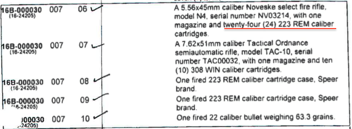Officer #1 says he loaded only 29 rounds in his 30 round magazine.  His 24 recovered .223 rounds (above), plus 2 fired at Finicum ,plus three fired into the truck (excluding the mystery roof round) is how investigators accounted for his 29 rounds.   (the TAC-10 rifle above belongs to Officer #2, the other officer who shot Finicum).  Left: a polymer 30-round PMAG customized by Noveske.