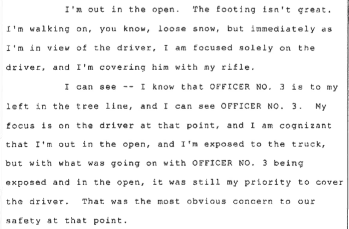 From Officer #1's deposition.