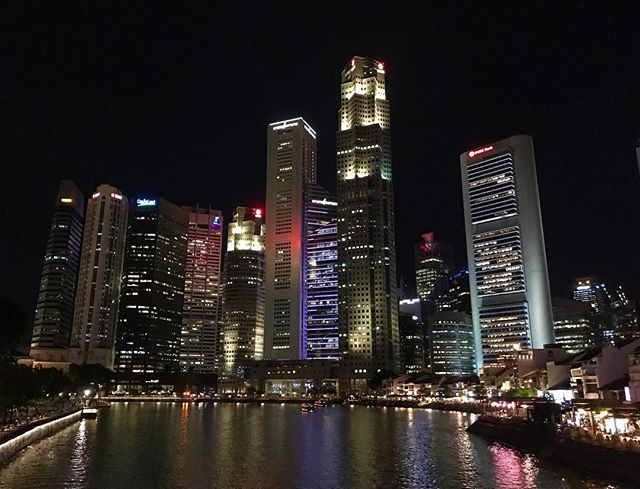 Drinking in those city lights.  #Singapore