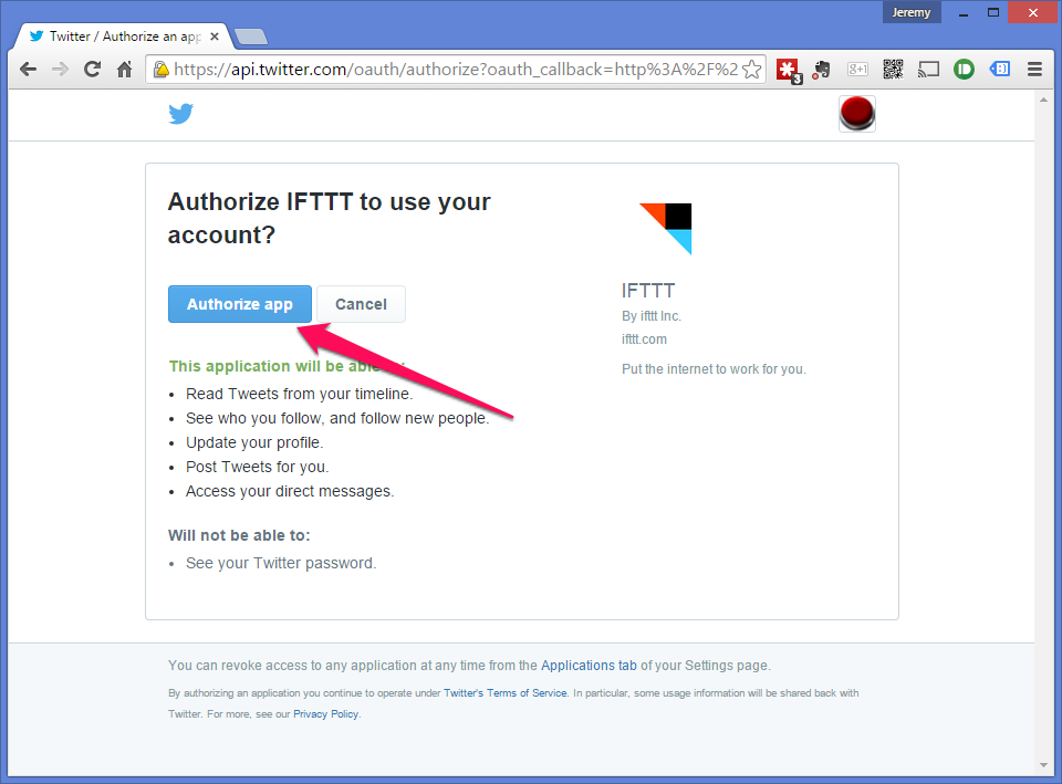 Allow IFTTT to access your Twitter account