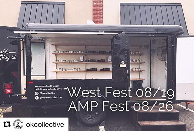 Shop @okcollective at #WestFestOK tomorrow!  #Repost @okcollective (@get_repost) ・・・ Two more chances to catch us this month! We'll be at @westfestok and @ampfestokc in our little mobile candle shop. Come listen to some rad local music and say hi! 🤘🏼🖤