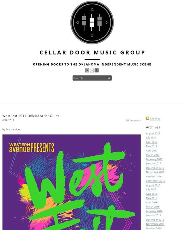 Cellar Door Music Group blog editor Evan Jarvicks put together an incredible music guide to #WestFestOK 2017! Make sure to check it out: www.cellardoormusicgroup.com  We will see you tomorrow on Western Avenue 12-10p! 🙌🏼