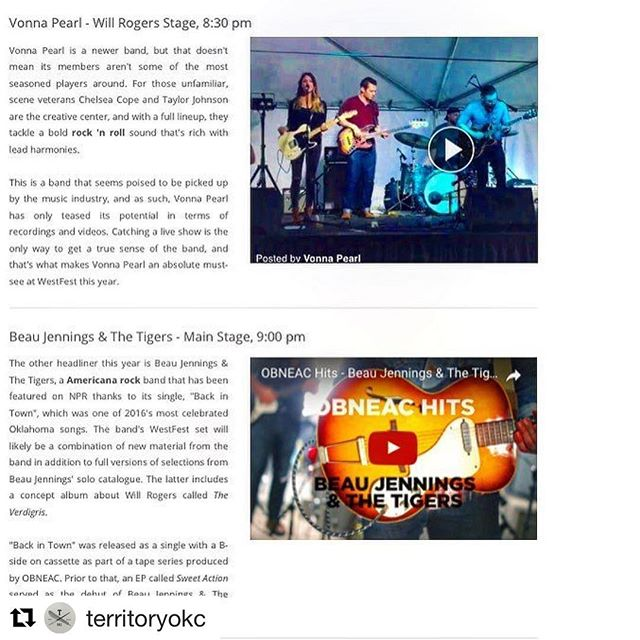 Thanks @territoryokc for sharing the @cellardoormusicgroup #WestFestOK music guide!  #Repost @territoryokc (@get_repost) ・・・ Trying to figure out who to see at @westfestok tmrw? Loooove the guide created by @cellardoormusicgroup! It's a great chance to check out Summer Issue featured musician @chelco of @vonnapearl + @beauscottjennings and so many more. . Linked to the Cellar Door post on our Facebook page, too. #westfestokc #cellardoormusicgroup #territoryokc