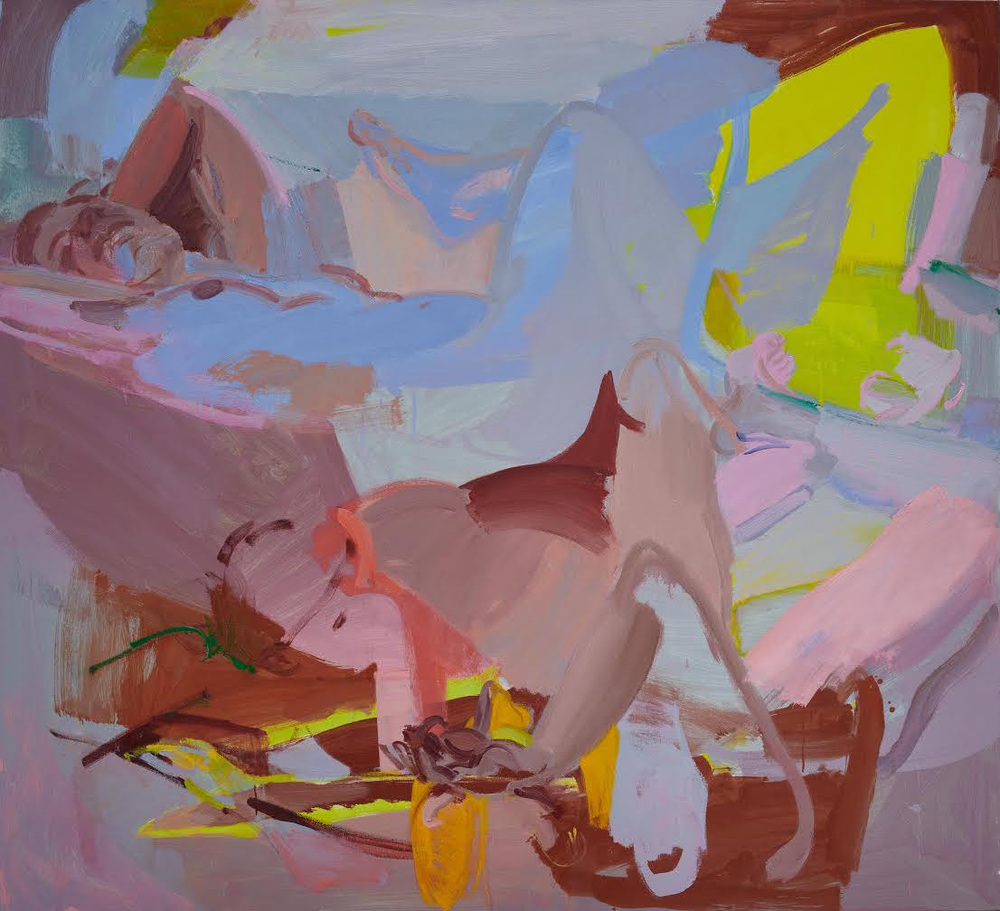 Sarah Awad, Reclining Women, 2014, oil and vinyl on canvas, 60 x 66 in.