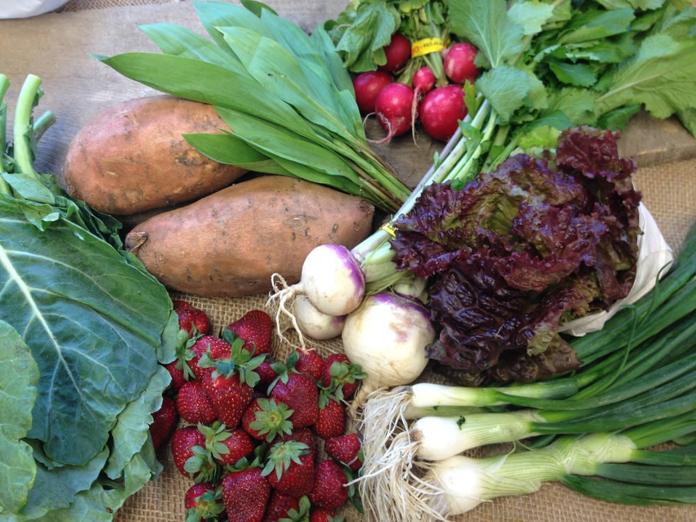 Spring lettuce mix, ramps, strawberries, radishes, sweet potatoes, collard greens, spring onions, baby turnips