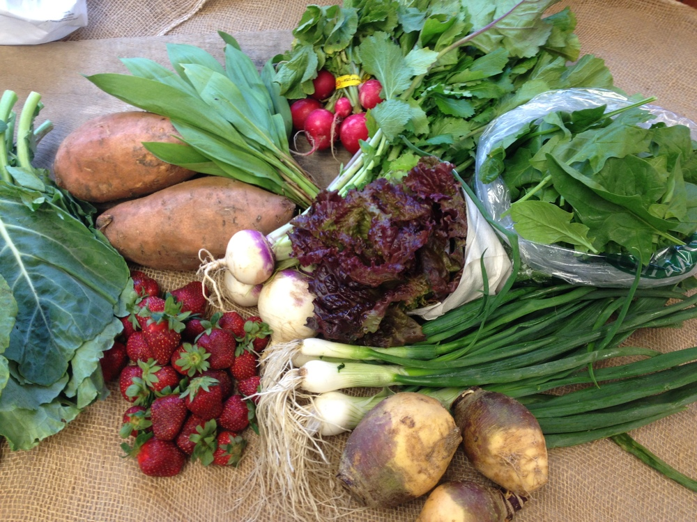 spring lettuce mix, ramps, strawberries, rutabaga, radishes, sweet potato, spinach, collard greens, spring onions, baby turnips