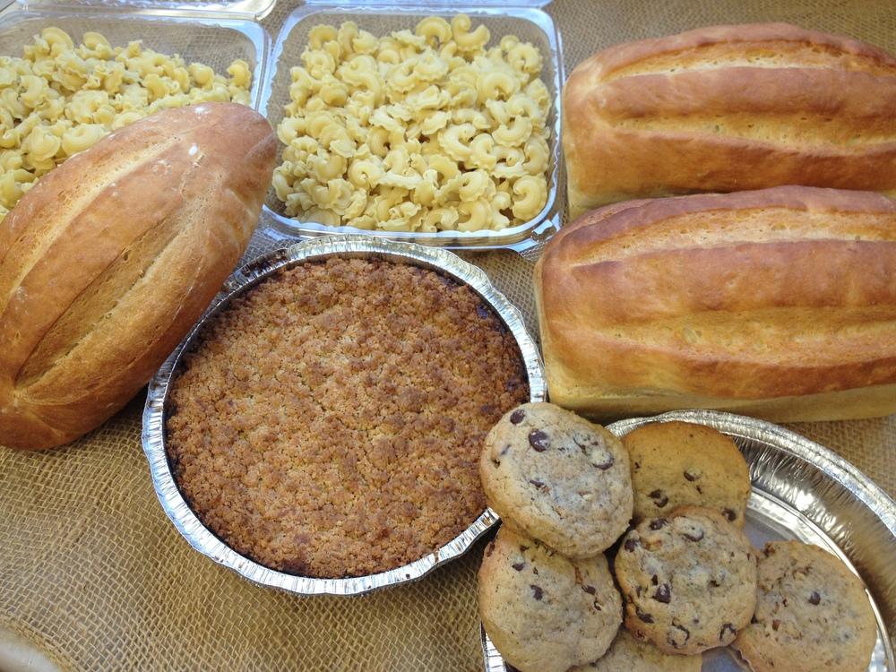 Sourdough or potato bread, batard, sweet potato coffee cake, chocolate chip pecan cookies, rigate