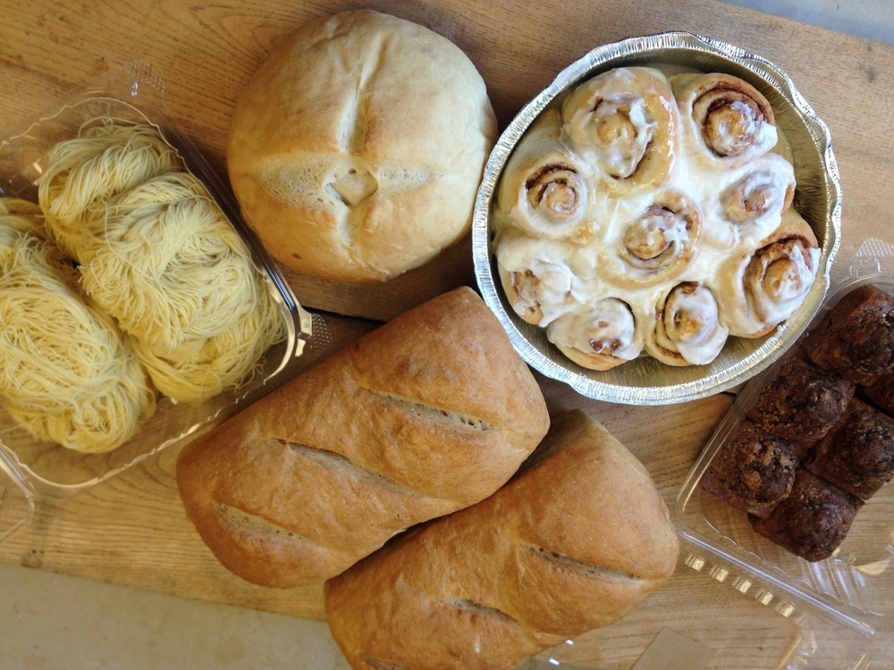 Bread, Pasta, & Grains share Large- 2 Wheat loaves, french boule, beet muffins, cinnamon rolls, angel hair pasta.