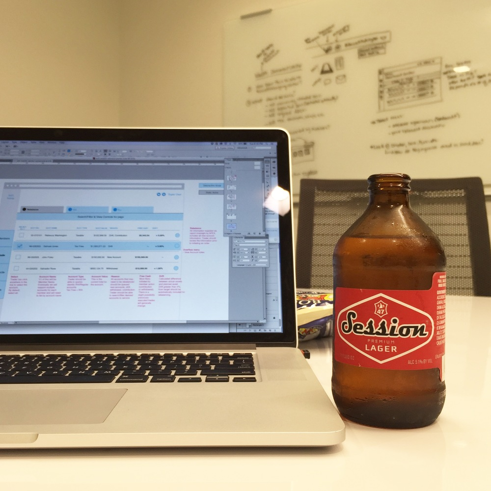 Beer + Brainstorm. After hours at the SoFi office is quiet and incredibly productive.