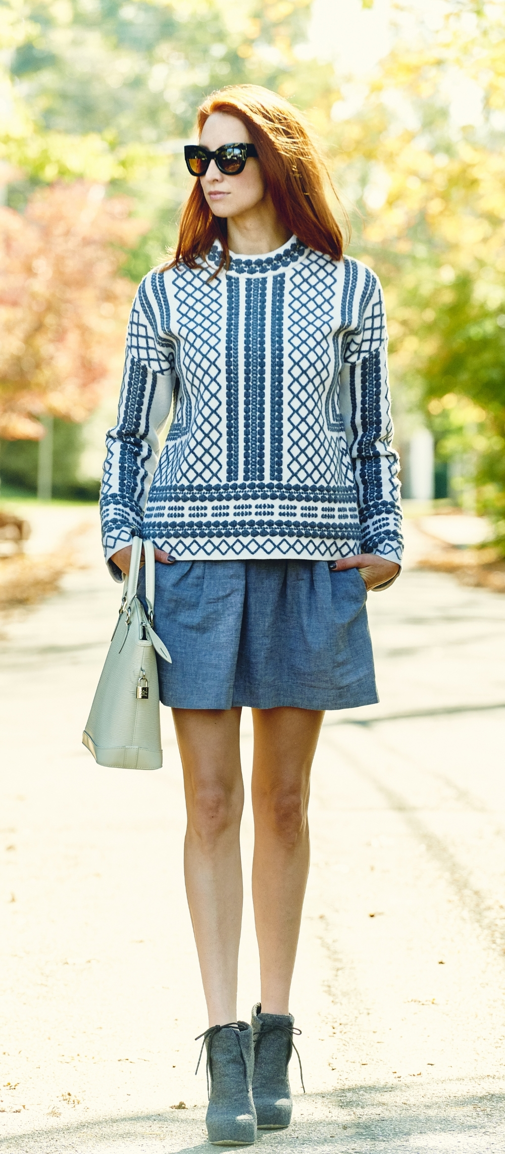 PHOTO BY CAMERON POWELL  SWEATER - TORY BURCH / SKIRT - MADEWELL / SHOES - ALEXANDER WANG / BAG - LOUIS VUITTON