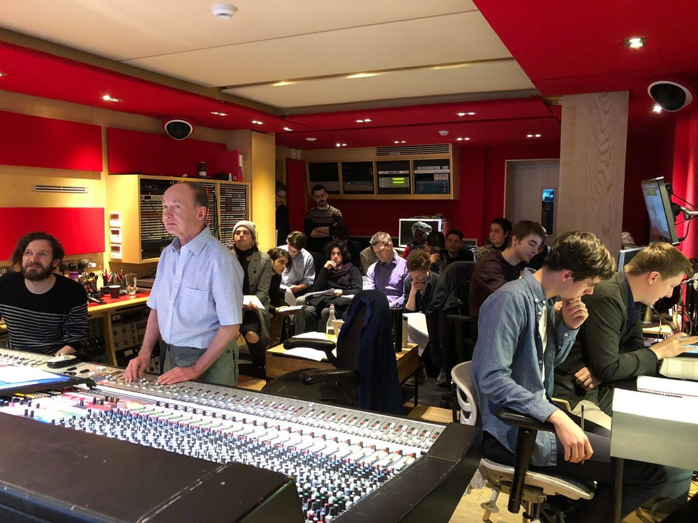 Danny reads through a score as Producer for an orchestral session at Abbey Road Studios.