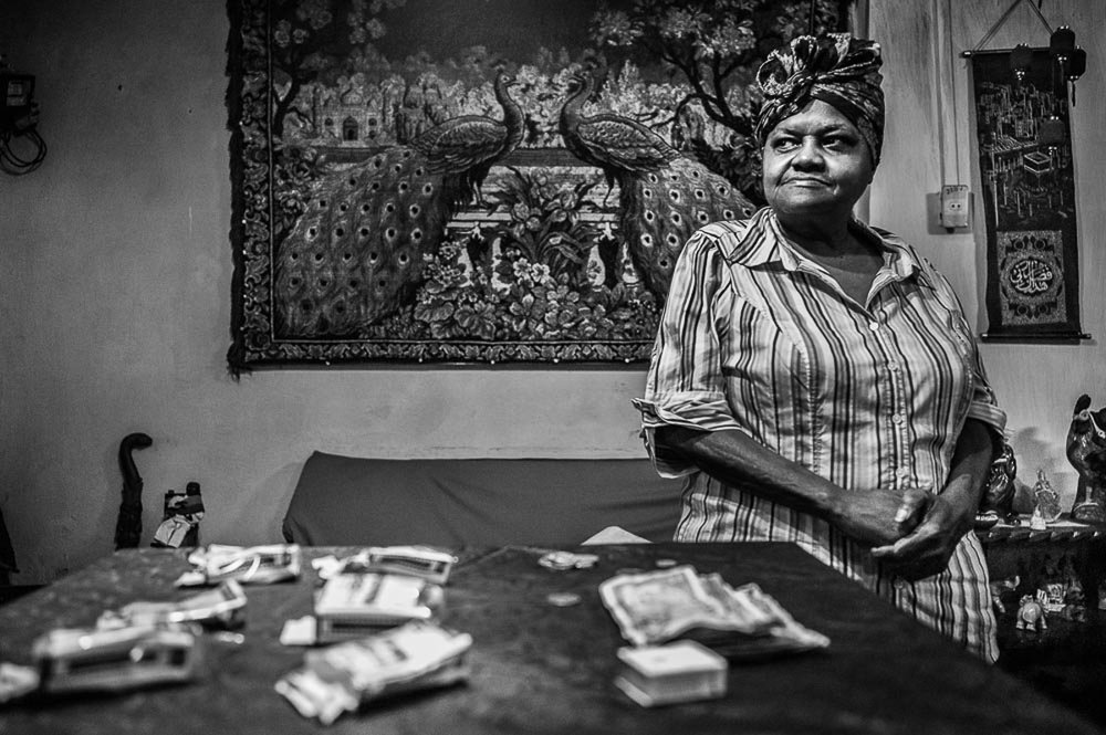 (Woman with peacock tapestry) Havana Cuba 2014