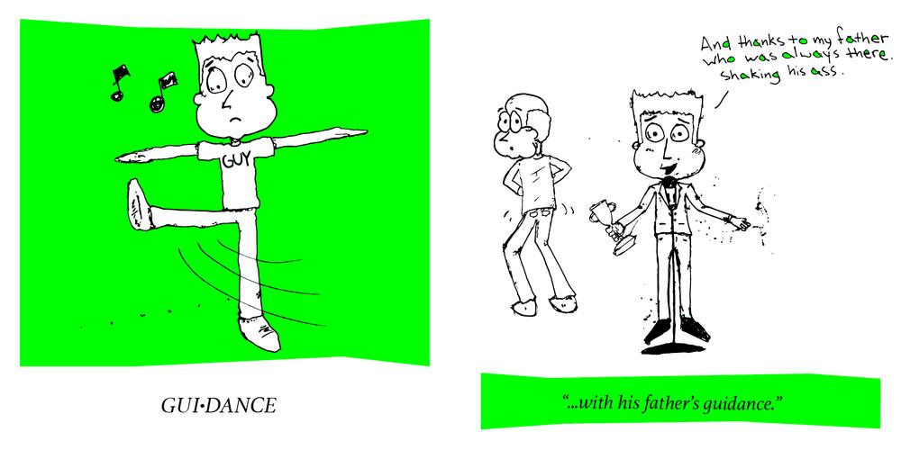guidance -> gui-dance -> guy dance