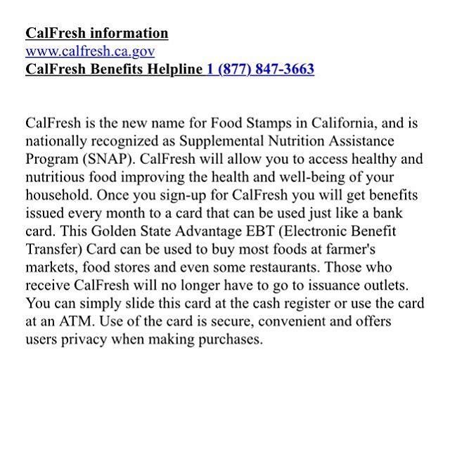 Sign up for CalFresh today if you would like to improve your health and well-being!