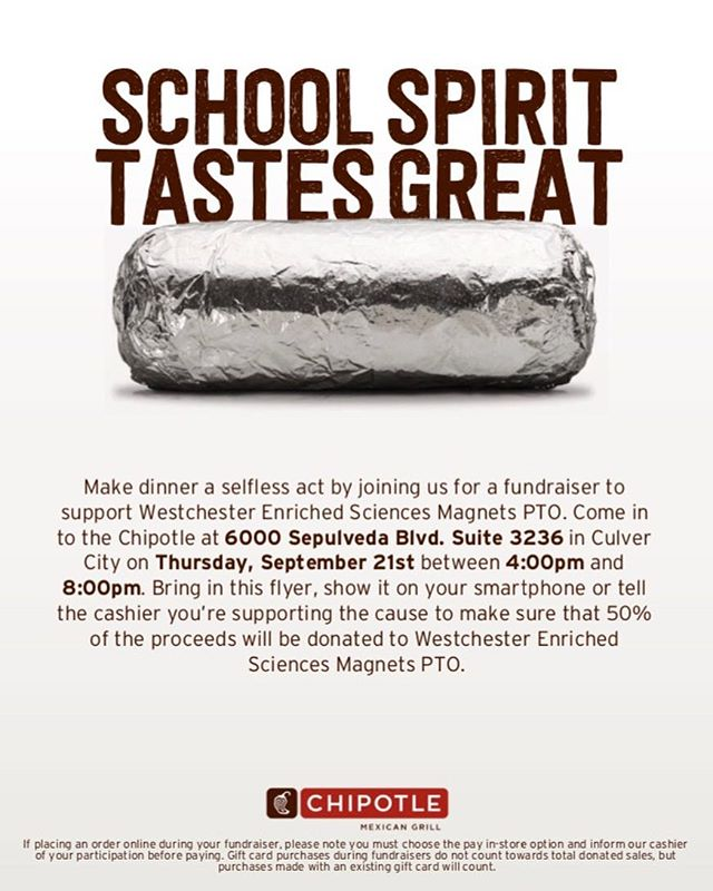 ⚫️🔴 Come support the Senior Class this Thursday at the Chipotle in the Foxhills Mall food court from 4pm - 8pm!! 🔴⚫️