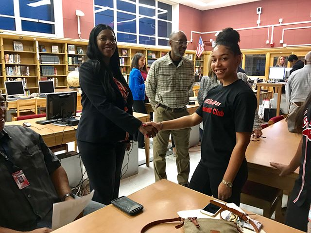 WESM Aspen Club members and our club sponsor Mr. Starks at the unveiling of Westchester's brand new tech corner in the library.