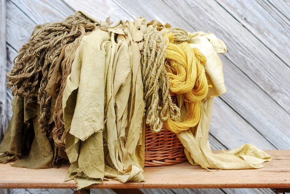 Range of Osage-derived color on wool, silk, cotton, and linen.