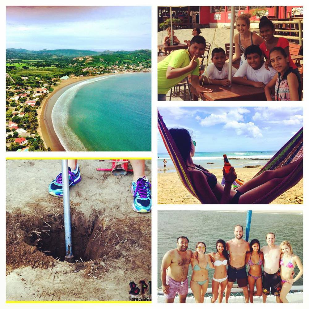 The beautiful beach of San Juan del Sur (upper left), Megan during our scavenger hunt with the BPP children (upper right), Jamie taking a much needed break in a beach hammock (middle right), Digging new foundations for the playground (bottom left), and the whole Nicaragua RAKlife team on our final day together on the celebration catamaran cruise (bottom right)