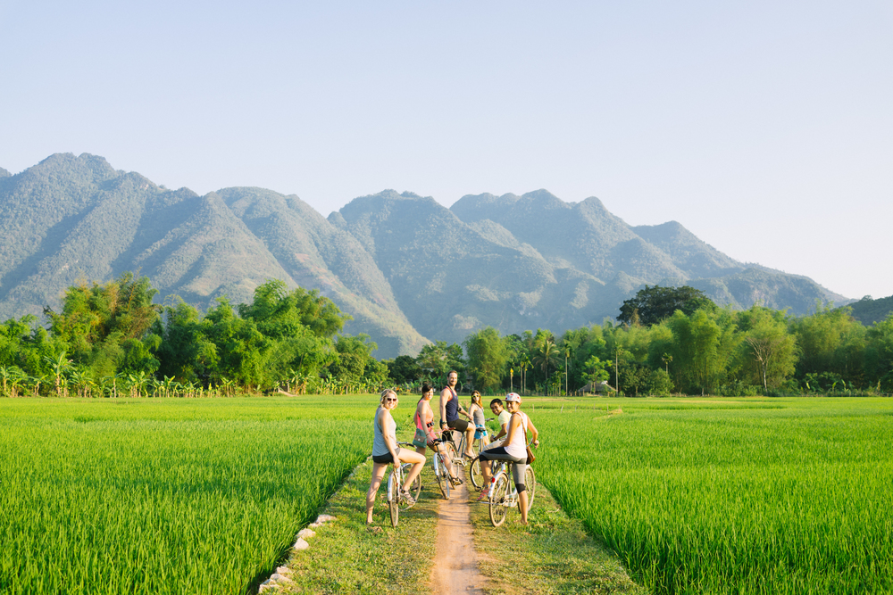 Bicycle rides through the villages and rice fields around our home.